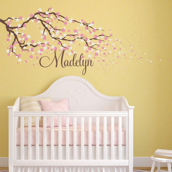 Cherry Blossom Wall Decal Name Wall Decal Tree Wall Decal