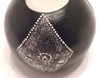 Terracotta Ball Candle Holder with Diamond Silver