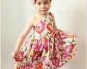 Girls summer dress.Girls spring dress. One shoulder dress. size 2t, 3t, 4t, 5t, 6 girls, 7 girls, 8 girls
