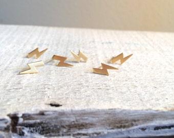Gold Tiny Lightening Bolt Stud Earrings, Thunderbolt earrings