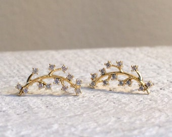 Gold CZ Ear Climber Branch Earring Post, Tiny CZ Ear Climber Earrings, Dainty Bridal Earrings, Wedding Jewelry