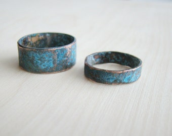 His and her ring set, rustic hammered copper set of rings, Alternative Wedding Bands, Matching Couple Rings