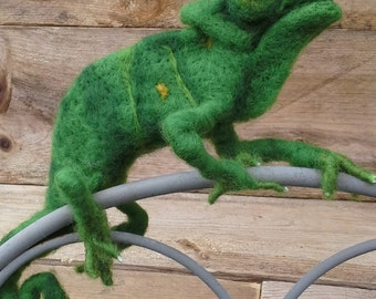Chameleon, soft sculptur, needelfelting Reptile, one of a kind,collectible, critter, creature,character