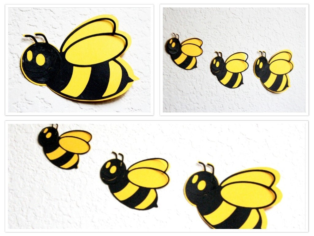 Bee wall art honey bee art nursery wall decor bee wall for Bumble bee mural
