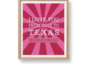 Texas Art Print Love print Travel Print State Travel Decorative Art Texas Artwork Wall Hanging