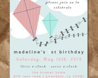 Kite in the Sky Birthday Invitation