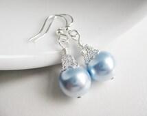 Light blue earrings, Swarovski crystal pearls, baby blue dangly earrings, powder blue wedding, drop earring