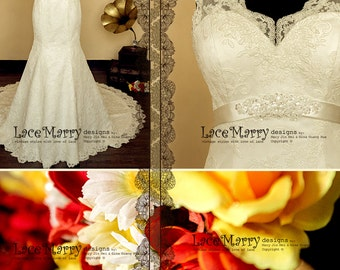 Gorgeous Lace Wedding Dress in Trumpet Shape, Wedding Dress with Lace Straps, Wedding Dresses, Trumpet Style, Wedding Gown with Train, Dress