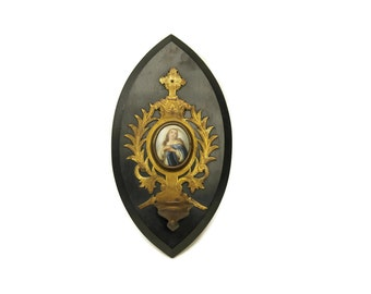Antique Holy Water Font. Napoleon III Antique French Benitier with Hand Painted Porcelain Medallion of the Virgin Mary.