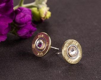 Shotgun Bullet Casing Jewelry - Bullet Stud / Post Earrings w/ Swarvoski Crystals (410)