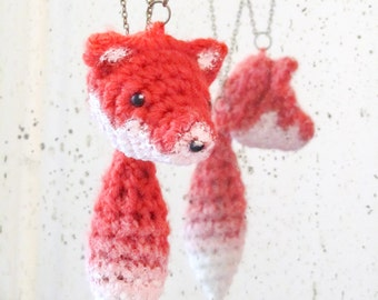 Fox - 2 necklaces with amigurumi fox's head and tail - 3 in 1 teamgent2017