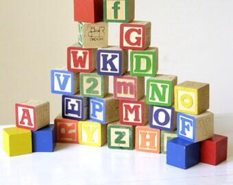 28 random wooden alphabet blocks children wood toys for Child craft wooden blocks