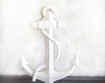 Large White Painted Distressed Cast Iron Anchor Wall Decor Nautical Baby Decor Beach Decor