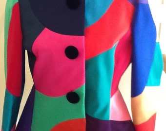 Vintage Color Block Jacket / Victor Costa for Bergdorfs / SZ S / Hipster / Evening Wear /   Mod / Abstract / Avant Garde/  High Fashion