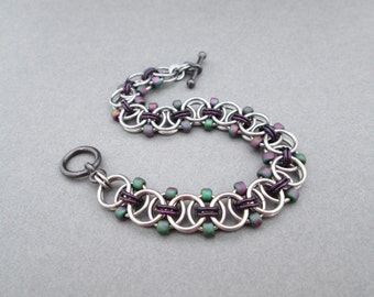 Purple Beaded Bracelet, Chainmaille Jewelry, Toggle Bracelet, Stainless Steel Jewelry Chainmail Jewelry Chain Mail Bracelet Purple and Green