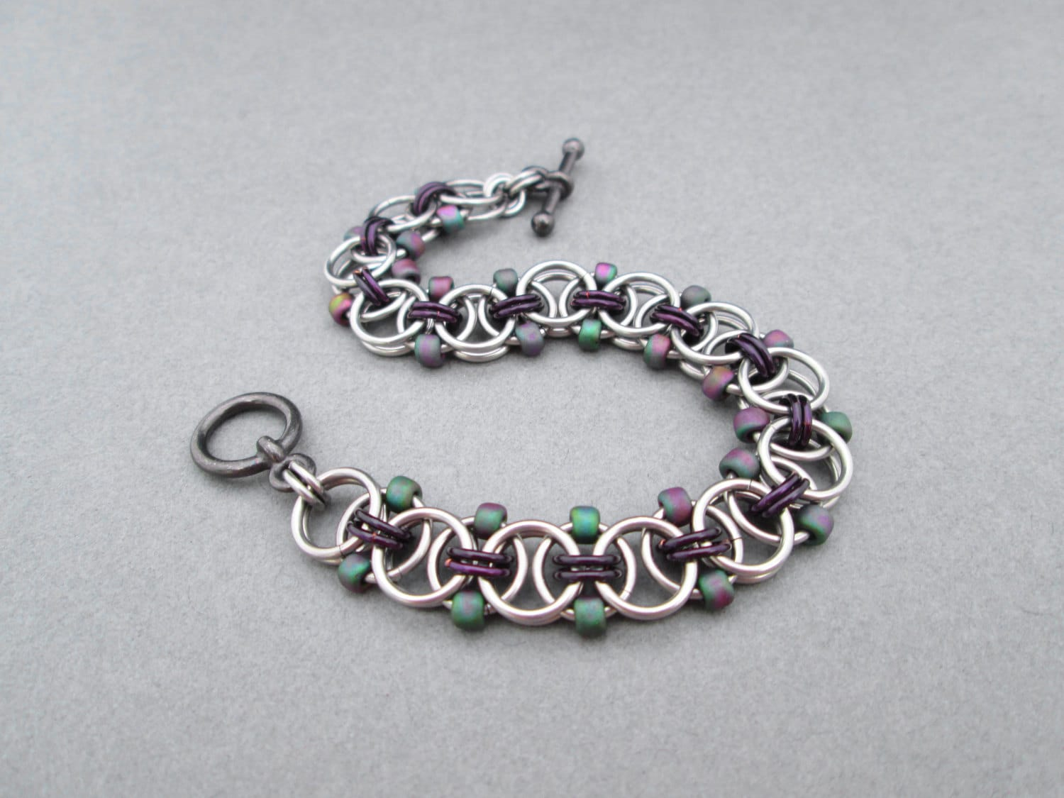purple beaded bracelet chainmaille jewelry toggle bracelet
