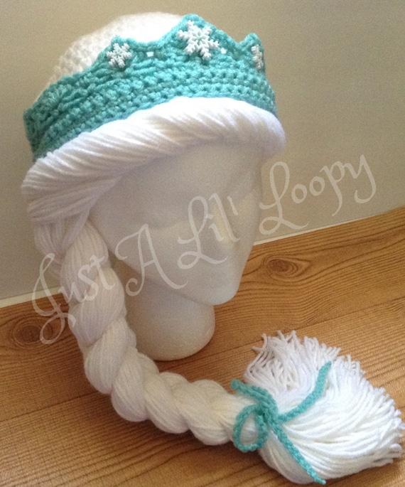 Crochet Elsa Tiara Pattern Free : Items similar to Crochet Princess Beanie with Braid and ...
