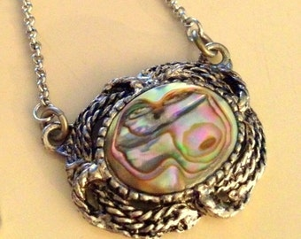 Vintage Abalone and Silver Pendant Necklace