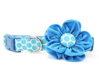Turquoise Blue Dog Flower Collar, Polka Dot Dog Collar Flower Honeycomb Feminine Girl Dog Collar