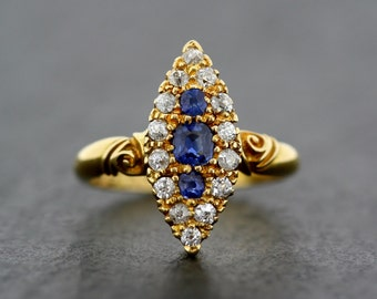Antique Engagement Ring - Victorian Sapphire & Diamond 18ct Gold Navette Ring