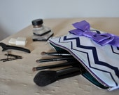 Feminine Chevron Zipper Pouch with Purple Bow