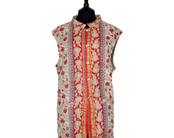 KANTHA Waistcoat - XX Large size - Light beige with red. Reverse light brown