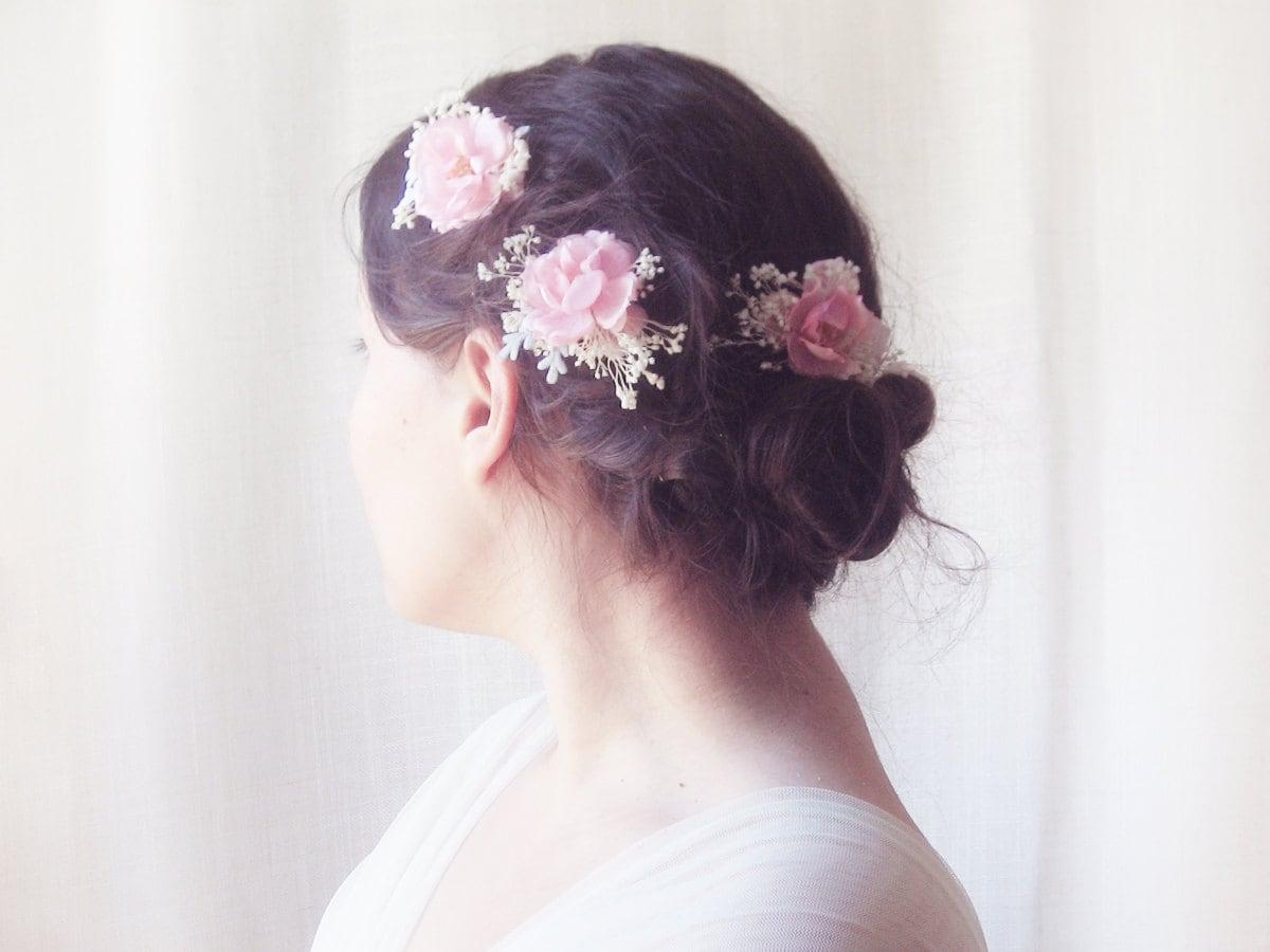braut haar blumen hochzeit haarschmuck rosa rose haarnadeln. Black Bedroom Furniture Sets. Home Design Ideas