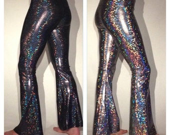 Holographic Men's Disco Ball Dance Pants Flare Pants // Spandex Silver Festival Leggings //