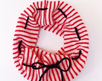 Infinity Scarf, Striped snood, lambswool snood, knitted cowl, nautical, customisable, contrast cord, ladies snood, striped cowl, handmade
