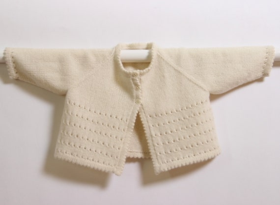 Baby Cardigan / Knitting Pattern Instructions in English / PDF Instant Download / Sizes 0-3 months / 6-9 months / 12-18 months