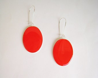 Red coral earrings, long earrings, red resin earrings, modern minimalist, big oval lightweight earrings, color block jewelry, surgical steel