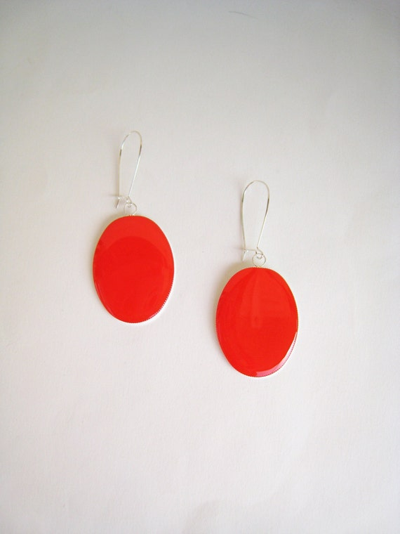 Red coral earrings, long earrings, red resin earrings, modern minimalist, big oval lightweight earrings, color block jewelry, surgical steel
