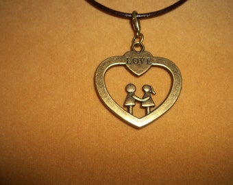 Man and Woman Love Heart Necklace - N106