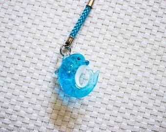 Glass Charm || Ocean Blue Dolphin