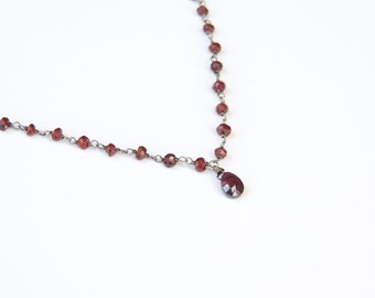Garnet  wire-wrapped on oxidized Sterling Silver chain with Garnet teardrop