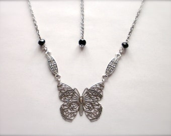 Filigree Butterfly Necklace, Sterling Silver Plated Butterfly Necklace, Jet Black Glass Beads Chain Butterfly Necklace, Wedding Gift for Her