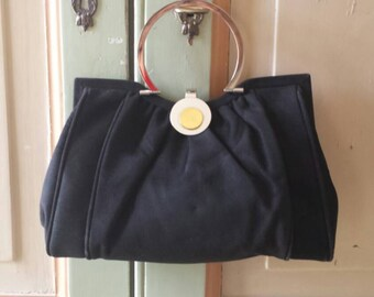 Vintage Italian 1950s black suede purse with gold silver details made in italy