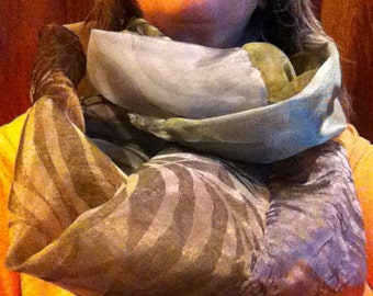 Infinity Scarf EcoFriendly from Silken Sheers Fabric Samples Elegant Greens Blues Browns and Grays