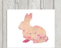Bunny print Pink bunny printable Floral bunny wall art Nursery rabbit decor Easter bunny Vintage floral texture 5x7, 8x10 INSTANT DOWNLOAD
