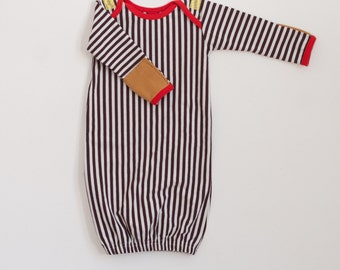 organic baby gown with mitts | chocolate-vanilla stripe