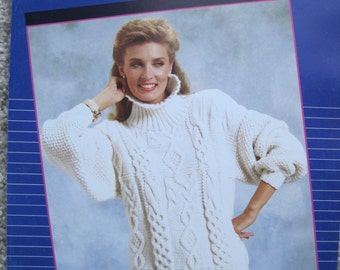 Knit Pattern Leaflet by Melrose #269 Fisherman's Fantasy Pullover Womens Size Small, Medium, Large Vintage 1986