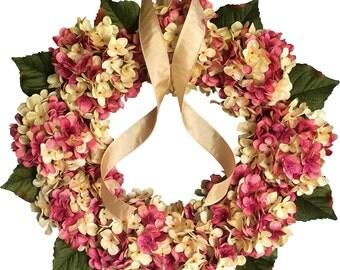 Pink and Cream Wreath   Blended Hydrangea Wreath   Front Door Wreaths   Spring Wreath   Shabby Chic Decor   Valentines Day Wreath