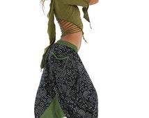 GREEN PIXIE TOP, slashed psy pixie top, psy trance top, pixie hood top, slashed top, green psy top, psytrance clothing, pixie clothing