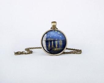 Van Gogh Starry Night over the Rhone Pendant art necklace Arles painting Birthday gift jewelry key ring  bronze cb150