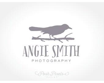 OOAK Logo Design (Premade) Bird Logo, Hand Drawn Logo, Photography Logo, Boutique logo, Whimsical logo, Crow logo, Branch logo