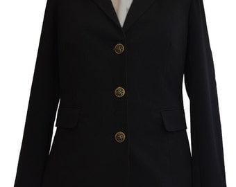 Vintage 1980s Classic Black Blazer Preppy School Girl Uniform Jacket
