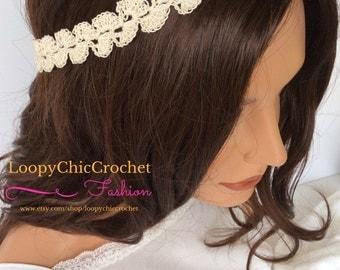 Cream Colored Crochet Boho Style Headband