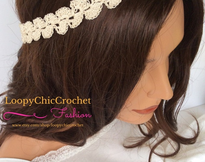 Cream Colored Crochet Boho Style Headband