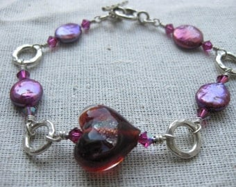 Fuchsia Venetian glass heart Swarovski crystal fuchsia coin Freshwater pearl wire wrapped sterling silver bracelet|Murano glass jewelry