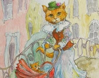Venice Cat Kitten Fine Art Print of my Original Watercolor Drawing Illustration Baby room decor